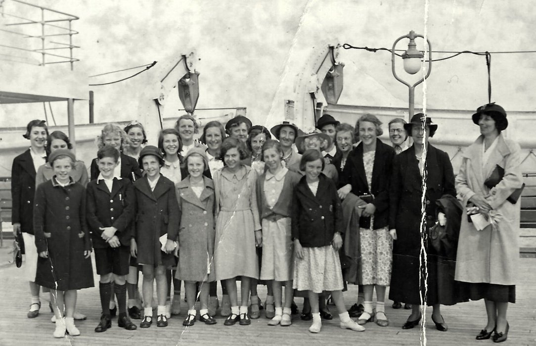 Girls outing 1930s on board Empress of Britain - Mrs Holbrow on the far right