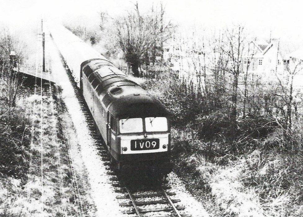 Class 47 diesel electric No D1741 approaching Horspath tunnel with a diverted Wolverhampton to Paddington service on 19 March 1967