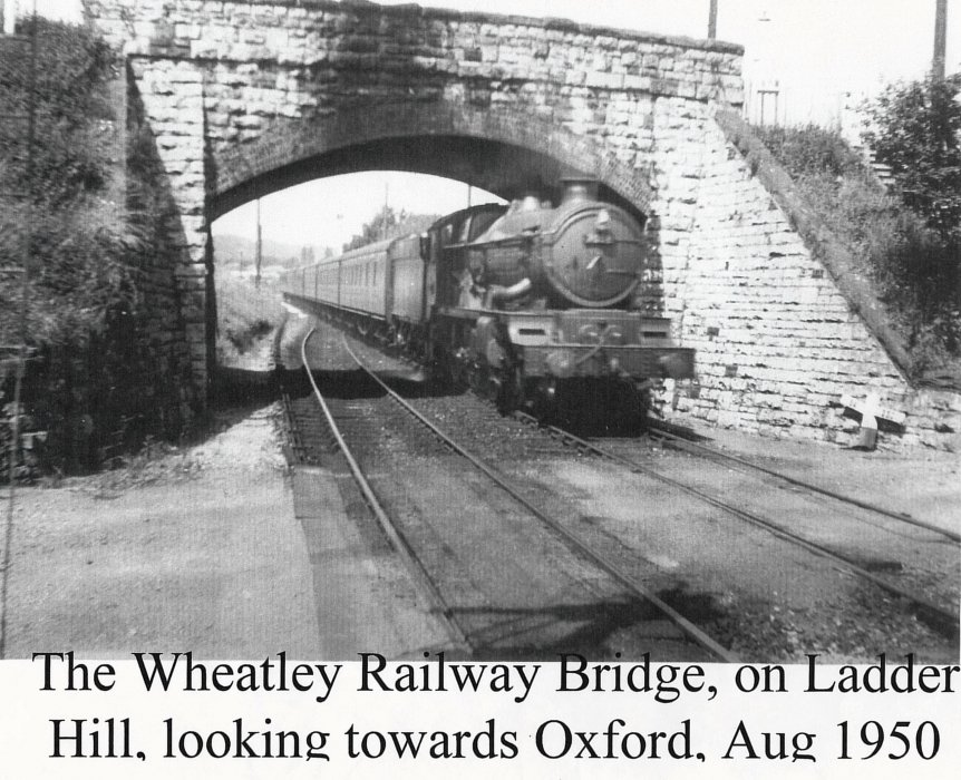 London bound train approaching Ladder Hill bridge through what is now the area between Simons Close and Howe Close