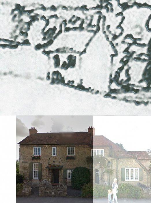 Extract from pen-and-ink undated sketch showing this to be the main part of the existing house as shown in a 2018 photo where the remainder of the house has been faded out.