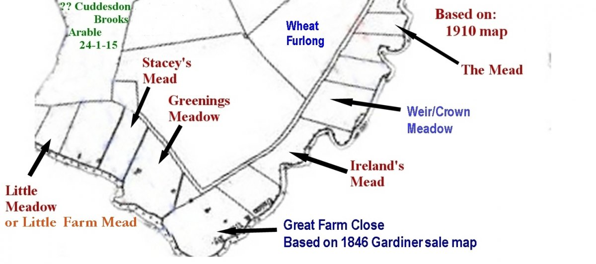 Map of the Wheatley meadows showing the 8  acres Great Farm Close, which was part of the sale as Lot 7