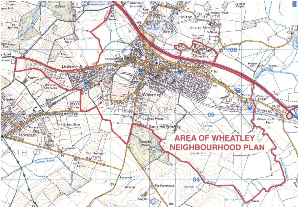 2018 map showing that Old Road is part of the Wheatley Parish area at the time of the Neighbourhood Plan
