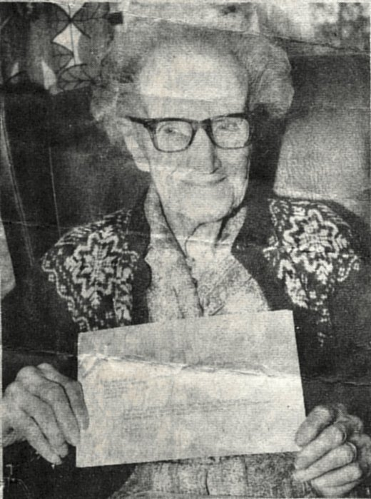 Mrs. Alice Whiting with Royal Telegram, on her 106th Birthday