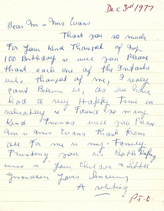 Letter written by Mrs Whiting of Bethrapha on her 100th birthday