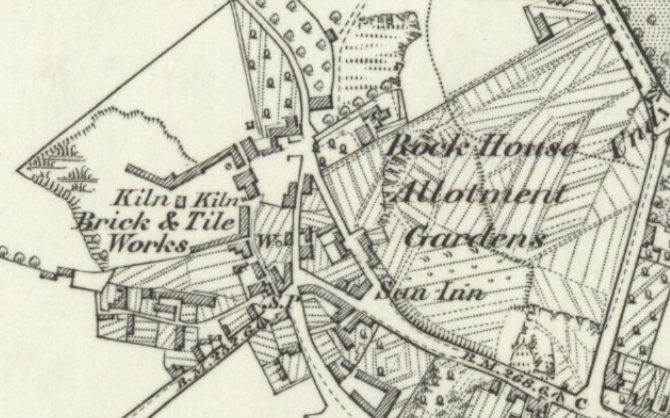 The brick & tile works. Note that the lime kilns are not shown on this map extract.