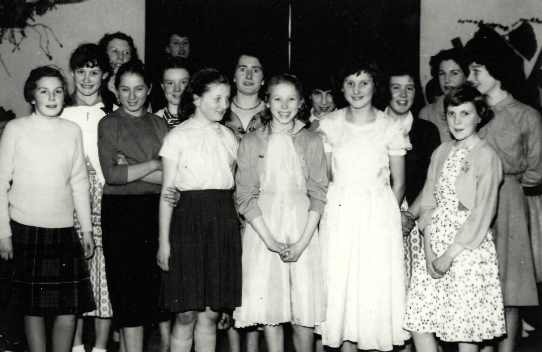 Photo of guides at a Valentine dance in 1958