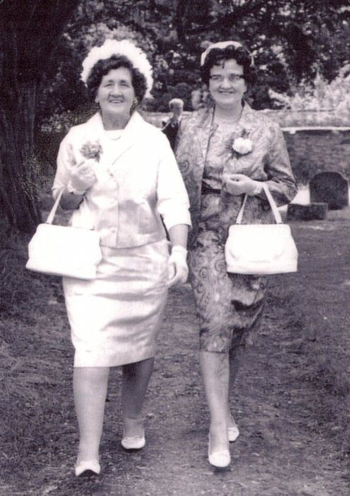 Phyllis West with sister Agnes about 1970