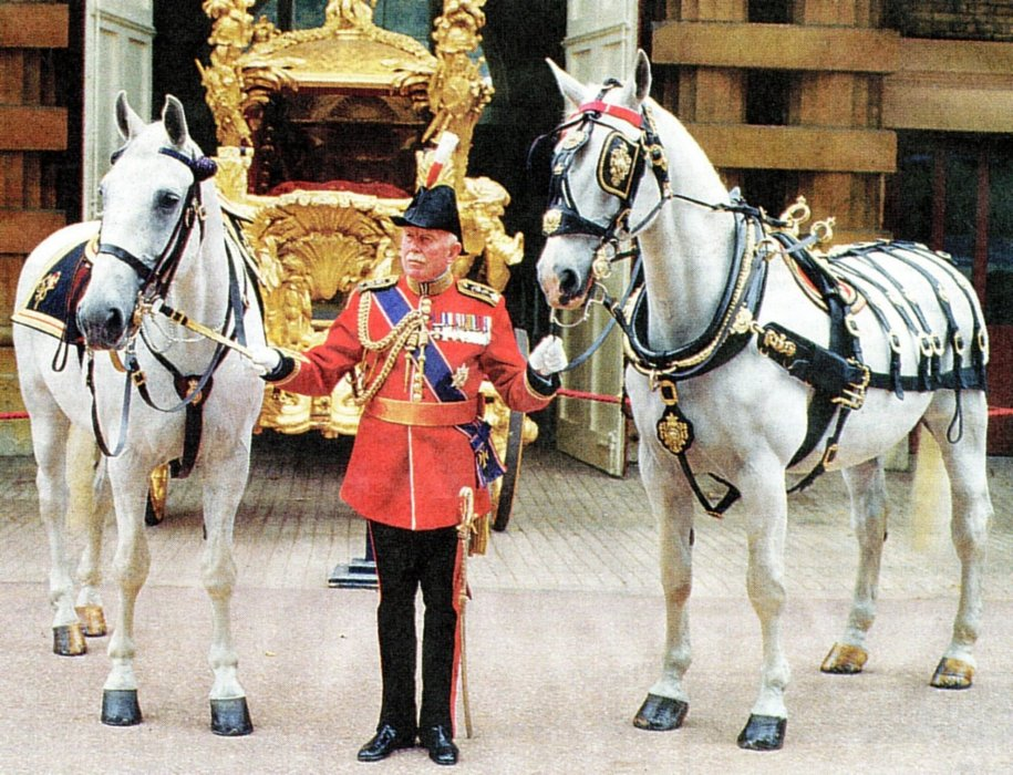 Sir John Miller outside the Royal Mews, Buckingham Palace in 1987