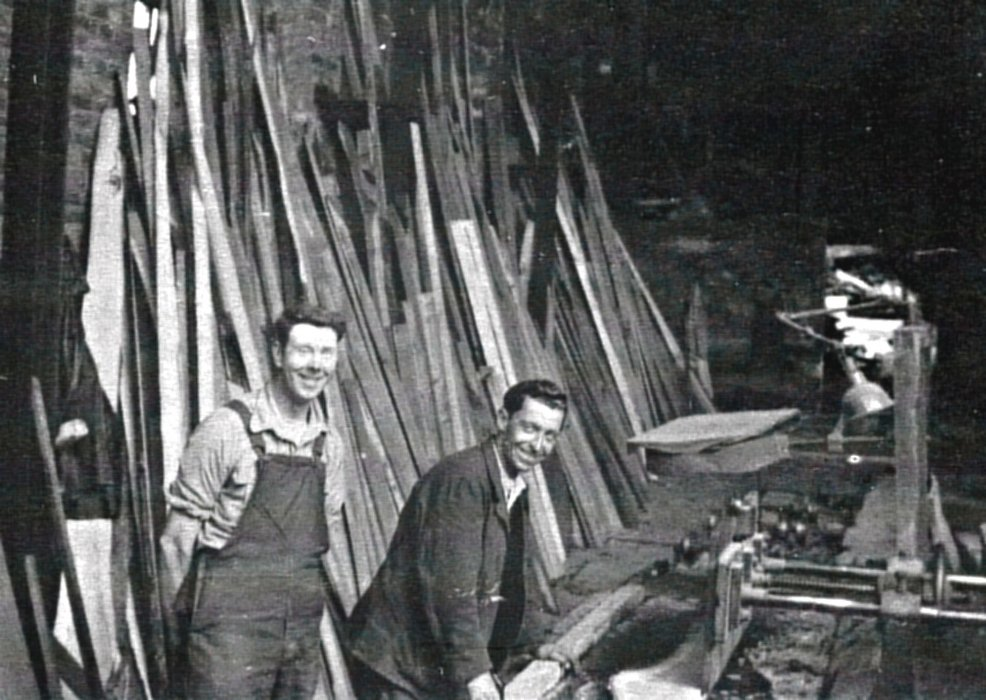 c. 1950. Workers at the sawmill