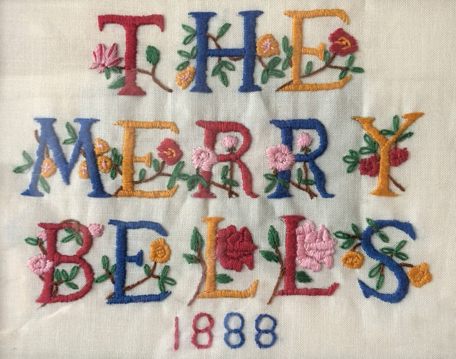 Embroidered panel of Merry Bells by H Seymour 1993