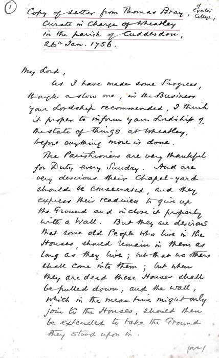 Letter from Thomas Bray. Page 1