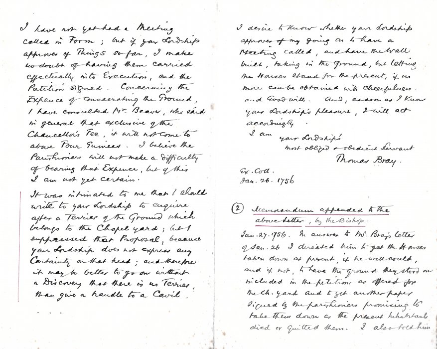 Letter from Thomas Bray. Pages 2 & 3