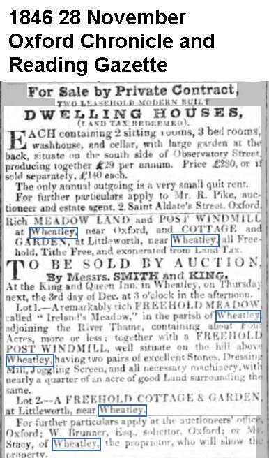 Post Mill was for sale in 1846