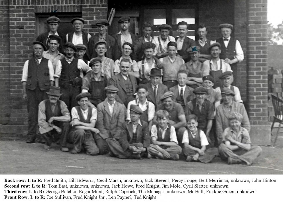 Photo of the staff at Wheatley brickworks. with names