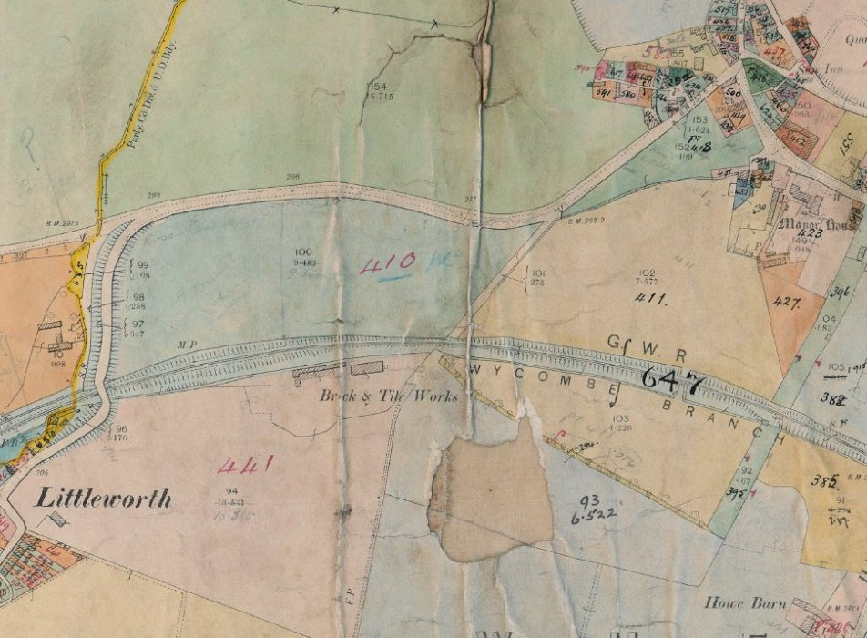 1910 valuation map extract showing land west and southwest of the Manor