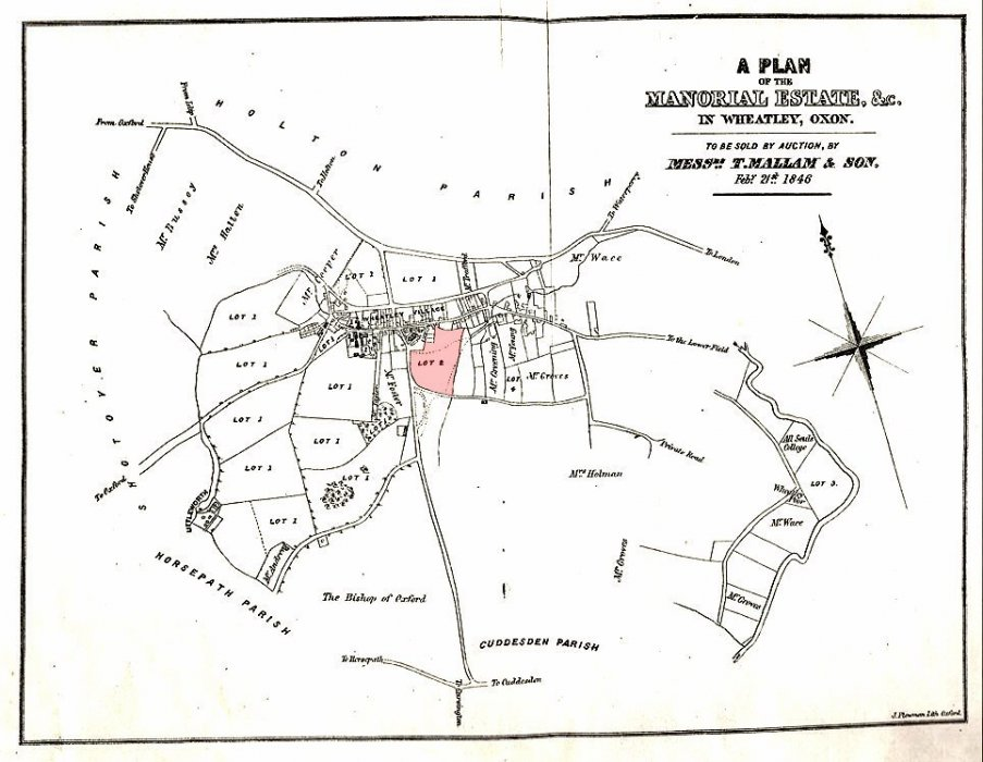Feb 1846 map showing only one Lot sold, shaded pink. It also suggests that the land sold in 1841 had been to Mr Groves and Mrs Holman