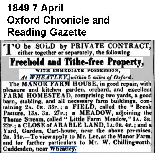1849 Press re sale of Manor House and 16 acres
