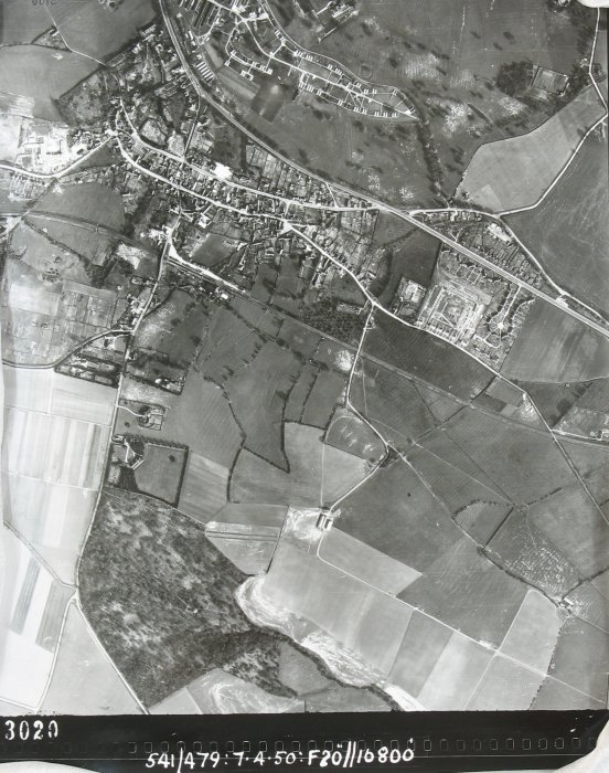 1950. Note the temporary buildings to the east of the main hospital site