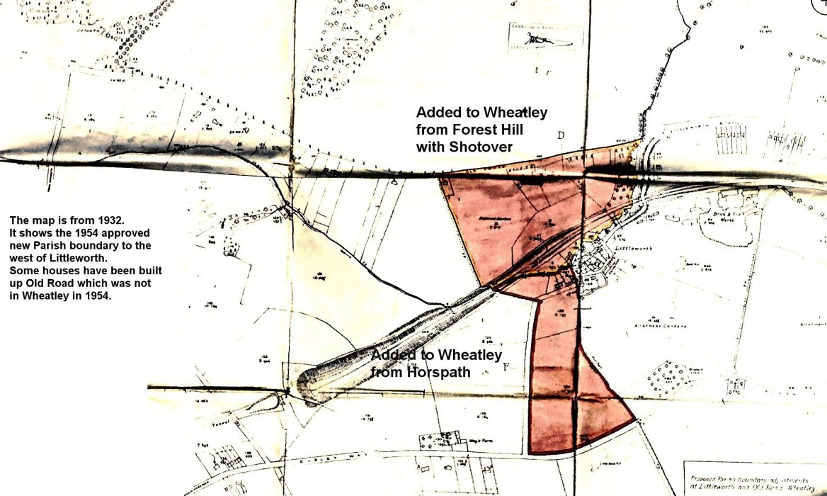 Extension of Littlemore from Forest Hill with Shtover (north part) and from Horspath (south part) with annotations