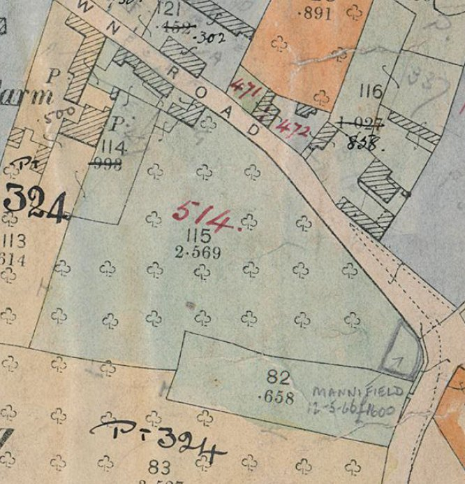 Extract of 1910 map showing ownership of Wayside, then known as Sunnyside