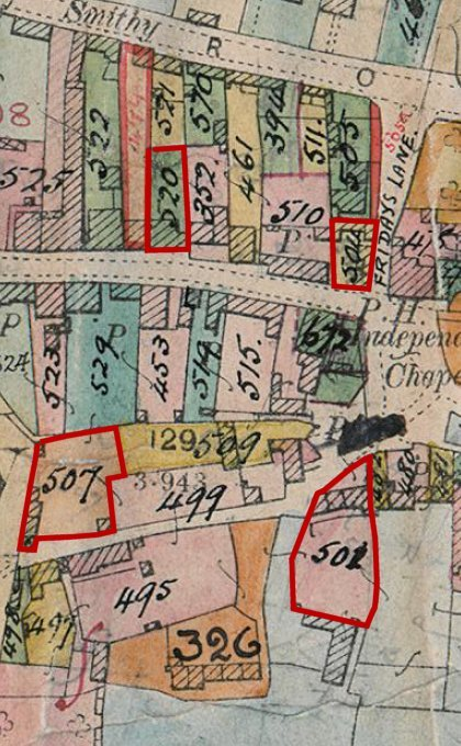 Extract of 1910 map showing Parsons ownership in Farm Close Lane, Friday Lane and High Street