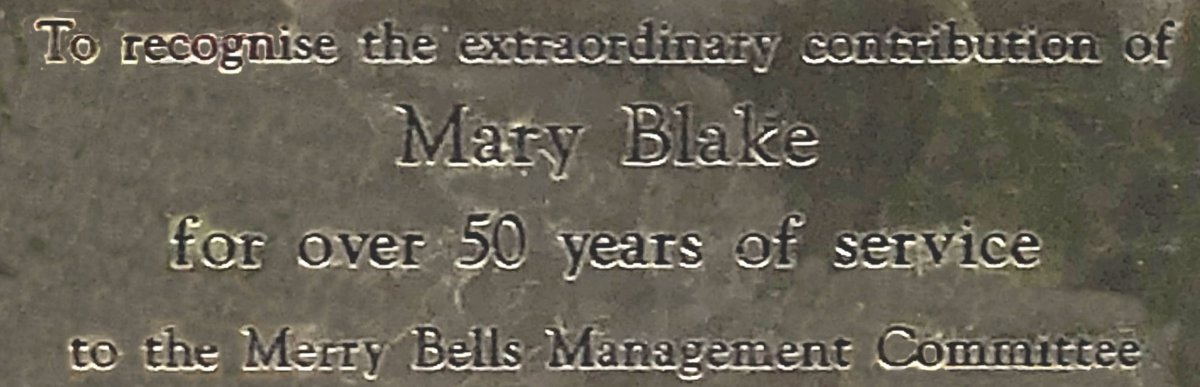 The dedication plaque to Mary Blake