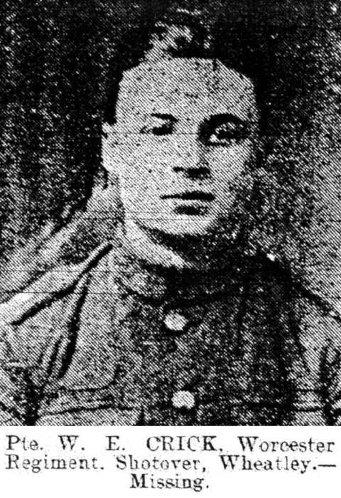 Private Walter Crick (Oxford Journal Illustrated, 28 August 1918)