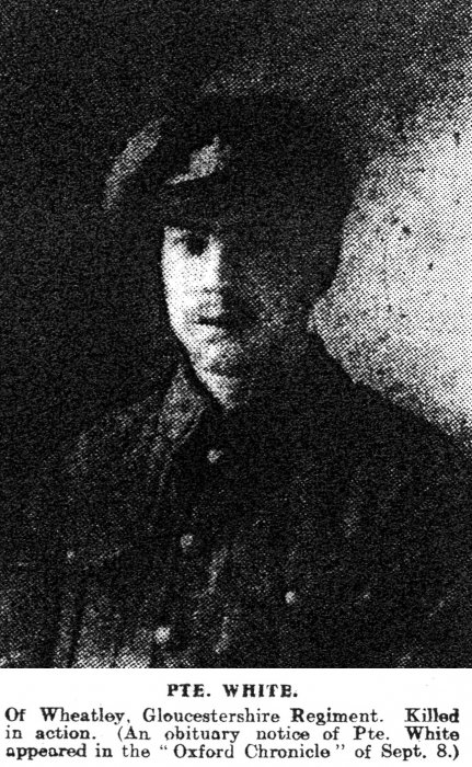 Private Thomas White (Oxford Chronicle, 15 September 1916)