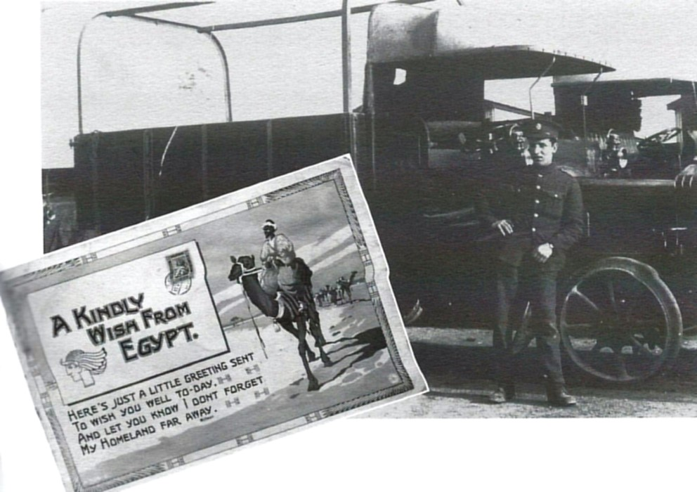 Private John Avery with his vehicle in Egypt and a postcard he sent home (courtesy Dorothy Avery)