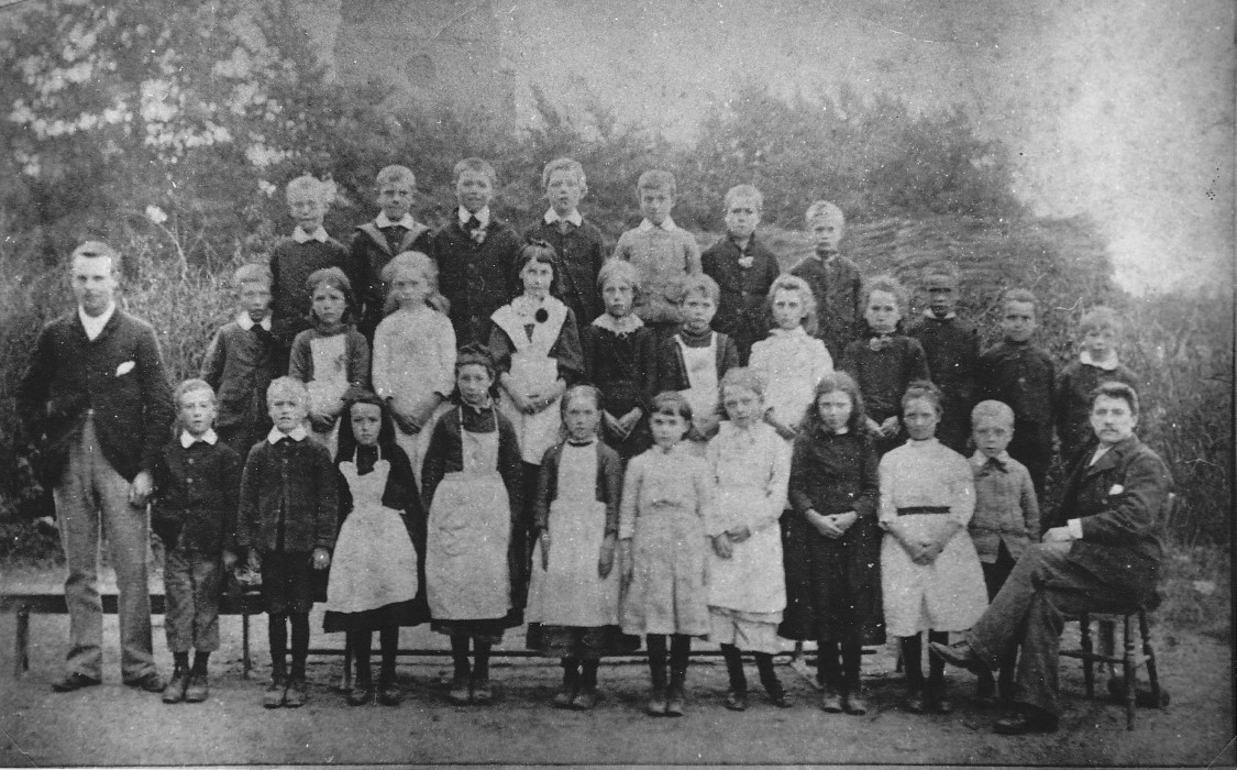 Arthur Sheldon (standing, left) and pupils at the school in 1893: the Headmaster, Rees Leyshon, is seated, right. (Wheatley Village Archive)